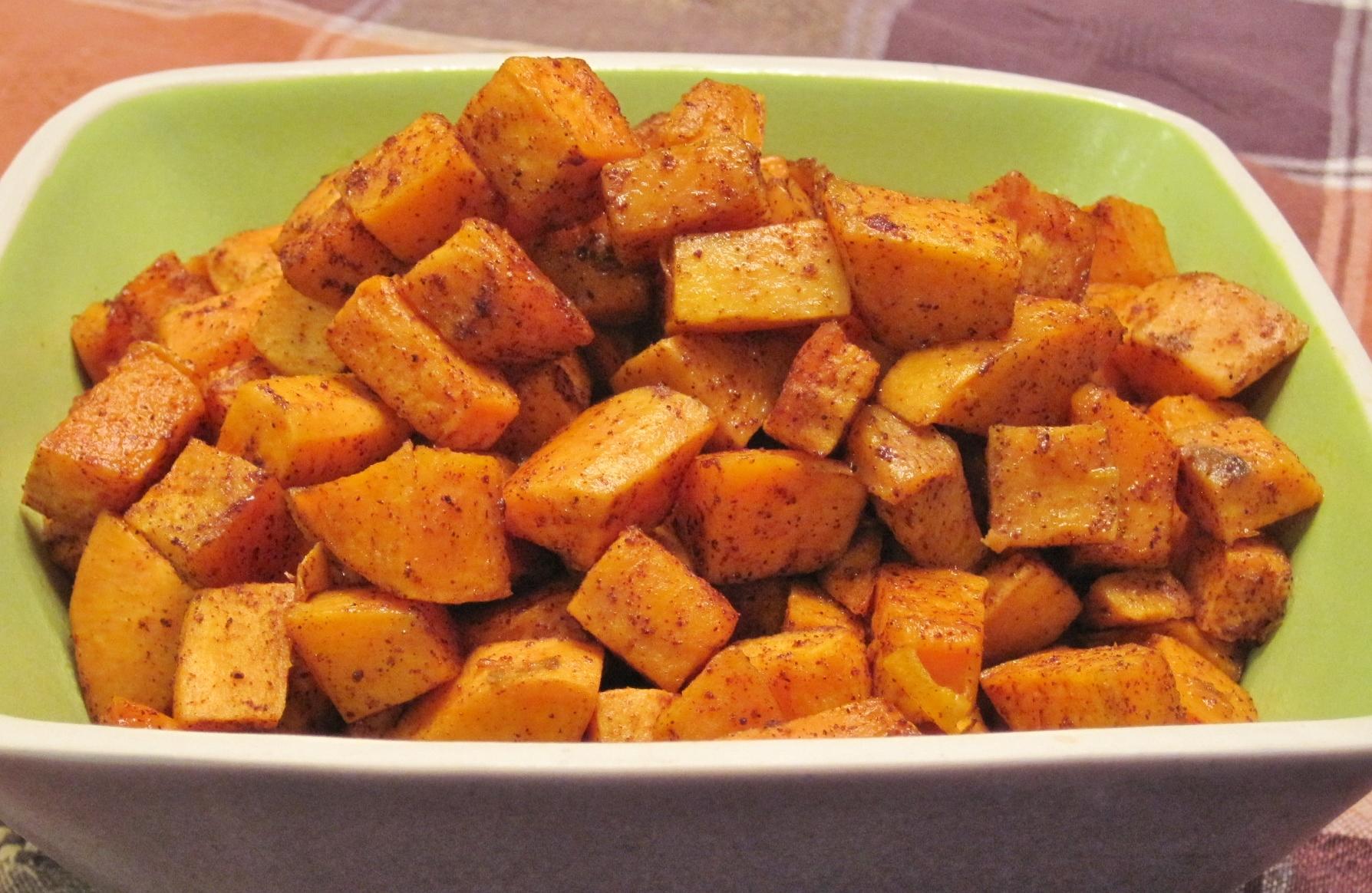 Roasted Cinnamon Sweet Potatoes - Juggling with Julia