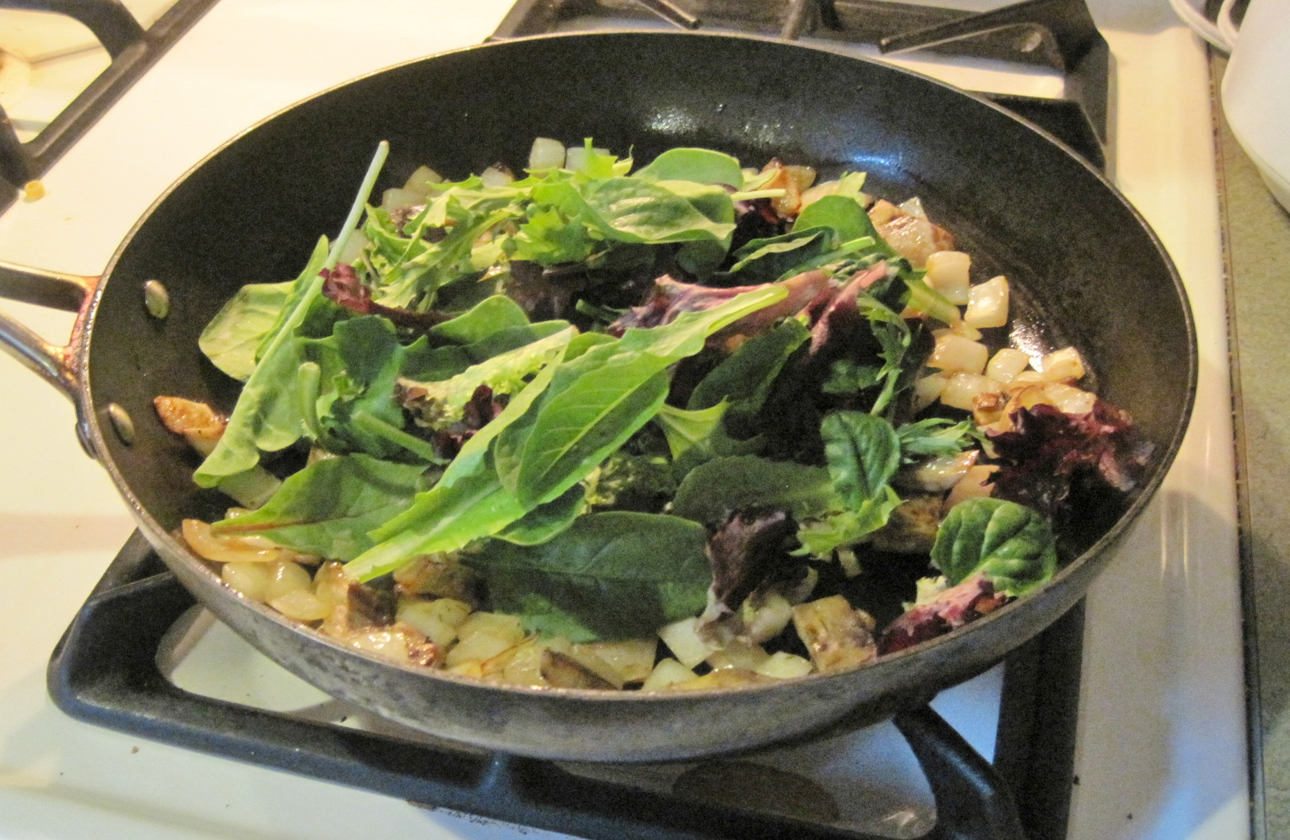Fried Eggs With Greens And Mushrooms Recipes — Dishmaps