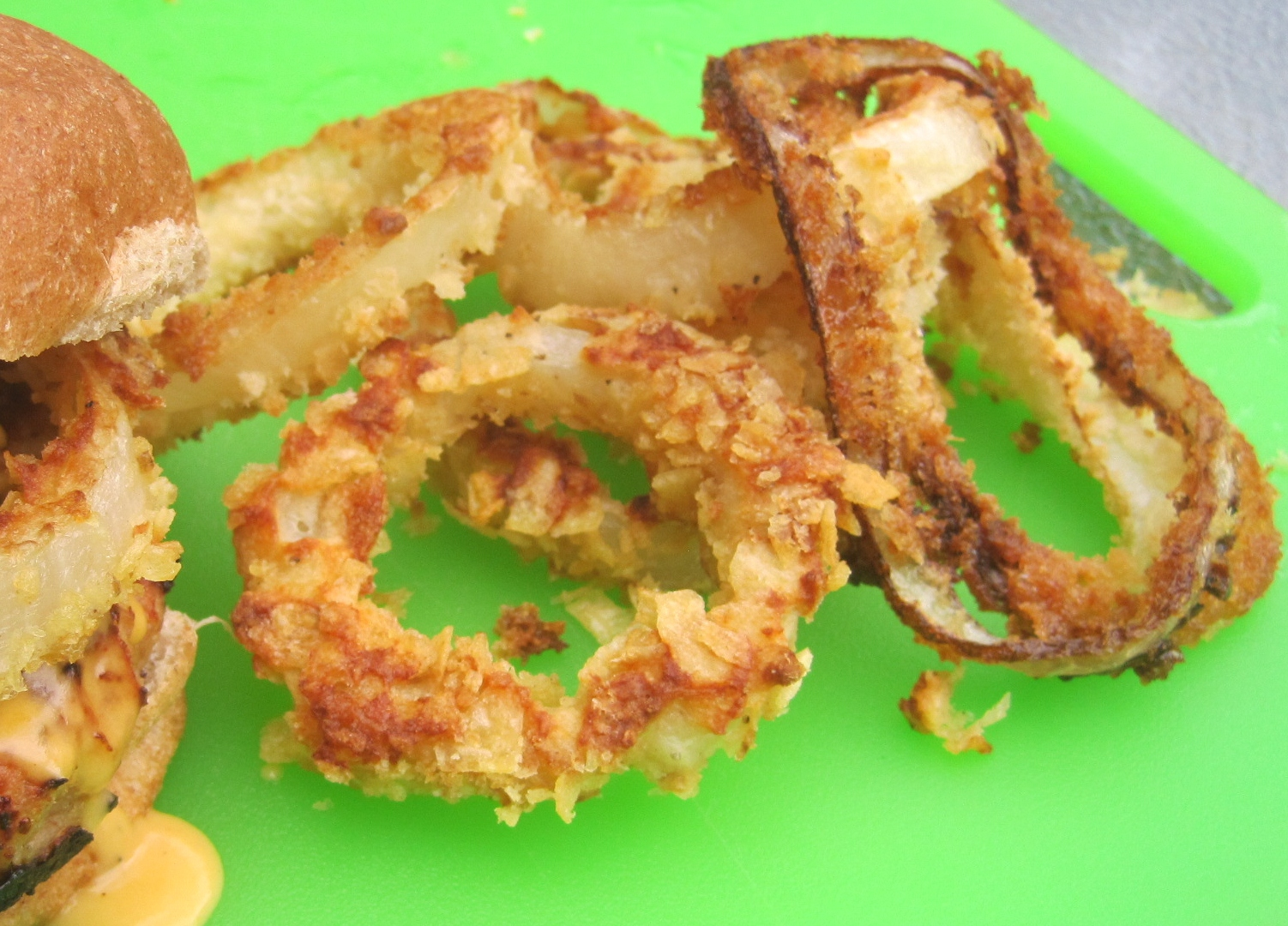 """Chicken Burgers with Oven """"Fried"""" Onion Rings and Smoky Beer Cheese..."""