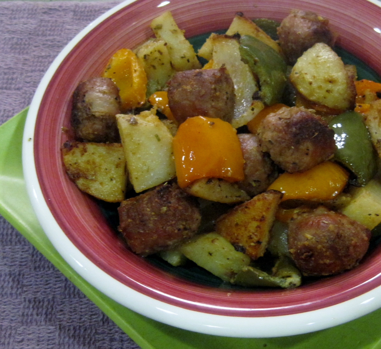 Roasted Turkey Sausage with Peppers, Potatoes, and Onions -- Juggling ...